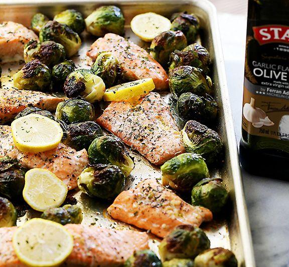 Photo of One Sheet Pan Garlic Roasted Salmon with Brussels Sprouts – #STARFineFoods