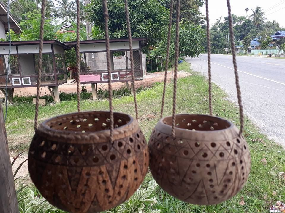 2 Pcs 2 Style handicraft Coconut Shell Hanging Pot Planter hanging Busket #Handmade