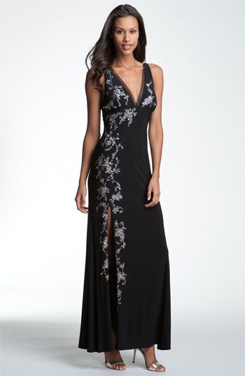 7a41b0be14 (I would sew up the slit a little) Betsy   Adam Sequin Detail Deep-V Jersey  Gown available at  Nordstrom