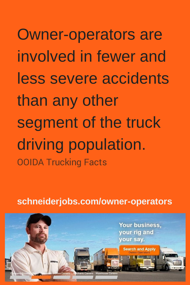 Owner Operators Are Involved In Fewer And Less Severe Accidents Than Any Other Segment Of The Truck Driving Population Ooida Truck Operator Owners Trucks