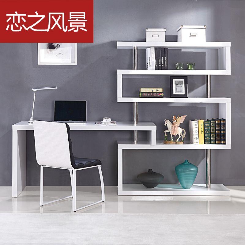 Floating Landscape Modern Minimalist White Paint Shelves Corner Desk  Desktop Home Computer Desk Use Floating Shelves