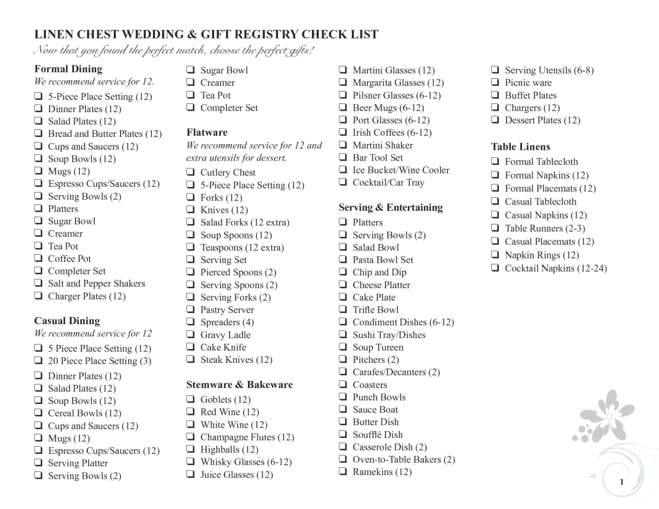 This wedding registry checklist from Compucentro is ideal