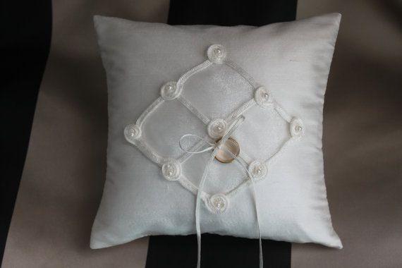 Elegant Diamond shape, ivory Dupioni silk, ring-bearer wedding pillow.