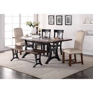 Astor Industrial Dining Table With Trestle Base And Rustic Top By