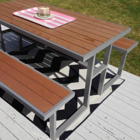 The House On Fremont Street A Last Minute Modern Picnic Table Stol Dlya Piknika Metallicheskaya Mebel Ulichnaya Mebel