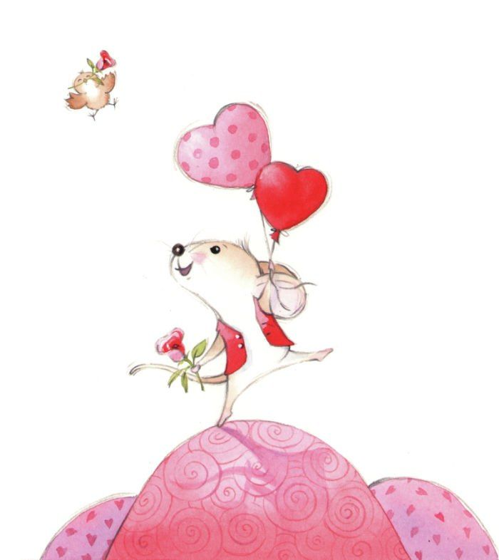 Открытка мышка девочка, поздравление восьмым марта
