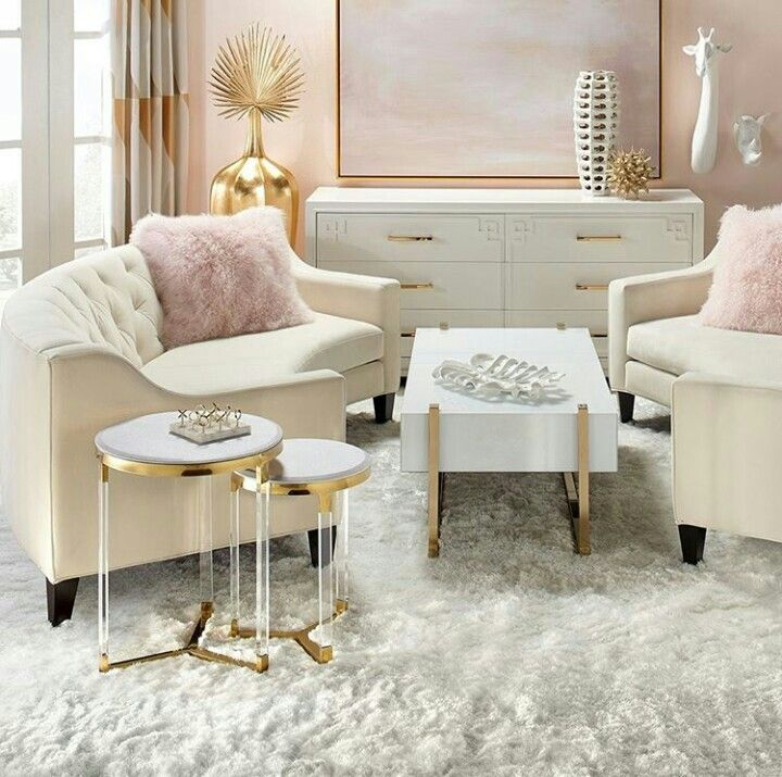 Pink Rose Gold Gray Fuzzy Rug Metallics Interior Decor Feminine Living Room Home Decor Living Room Designs #rose #gold #living #room #ideas