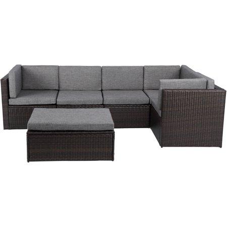 Baner Garden Outdoor Furniture Complete Patio Pe Wicker Rattan Garden Corner Sofa Couch Set With Gray Cushions Walmart Com Rattan Garden Corner Sofa Patio Cushions Outdoor Furniture