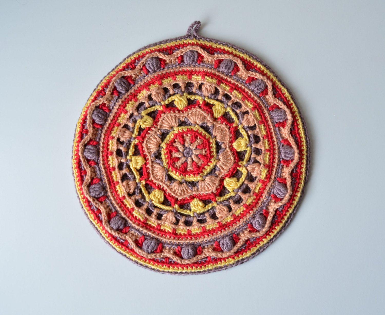 Crocheted Potholder PATTERN round mandala pot holder | Grannys ...