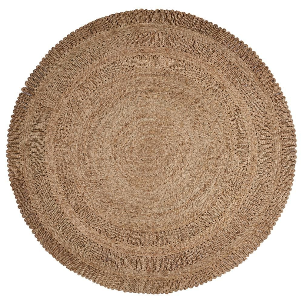 LR Resources Natural Jute Gray Round 8 ft. x 8 ft.