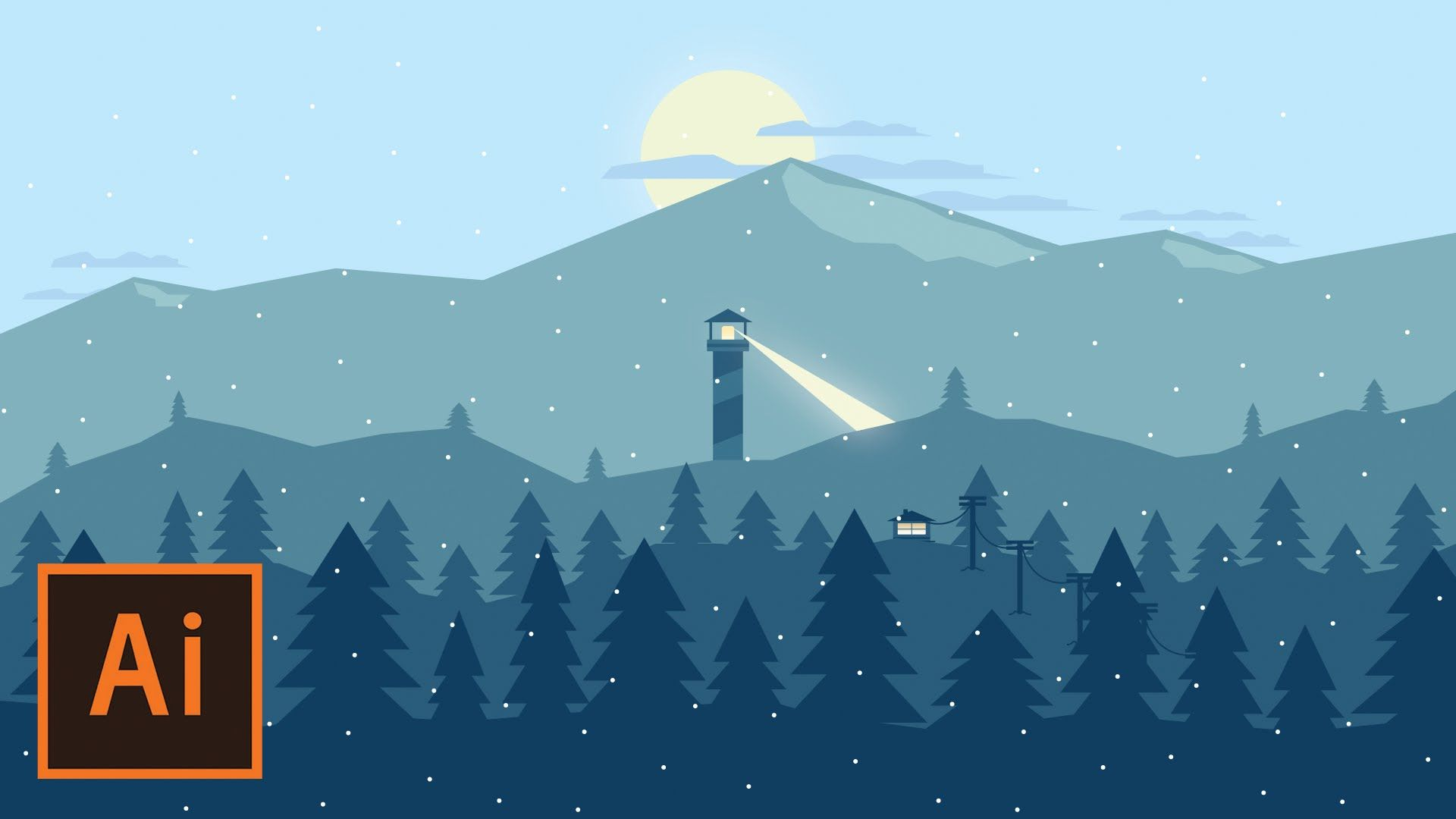 Illustrator Tutorial - Snowy Mountain Landscape (Flat Design ...