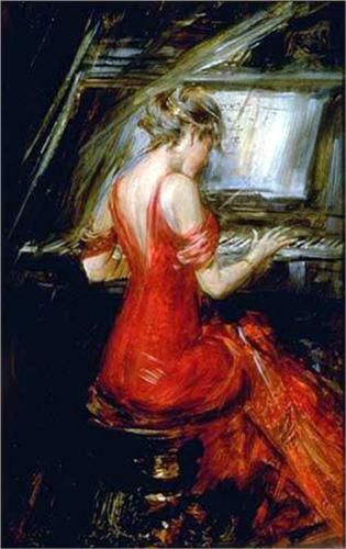 Scroll,Piano Maiden) Paint by Numbers for Adults DIY Oil Painting Kit