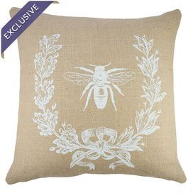 """Add a lovely touch to your sofa or loveseat with this handmade burlap pillow, showcasing a bee motif for stylish appeal. Made in the USA.      Product: PillowConstruction Material: Burlap coverColor: Beige and whiteFeatures:   Zipper enclosure Insert included Handmade by TheWatsonShopMade in the USA Dimensions: 16"""" x 16""""Cleaning and Care: Spot clean only"""