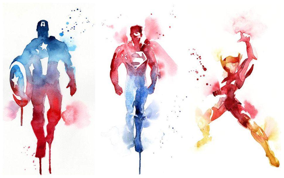 Coloridas ilustraciones de Superhéroes en acuarela