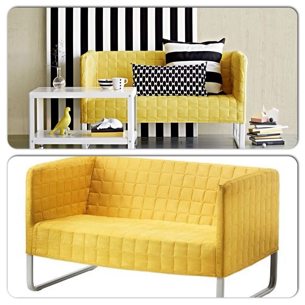 Fabulous Knopparp Ikea 2 Seater Yellow Couch With Removable Cover Short Links Chair Design For Home Short Linksinfo