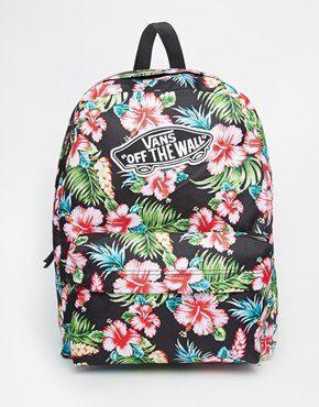 mochilas vans negras con flores
