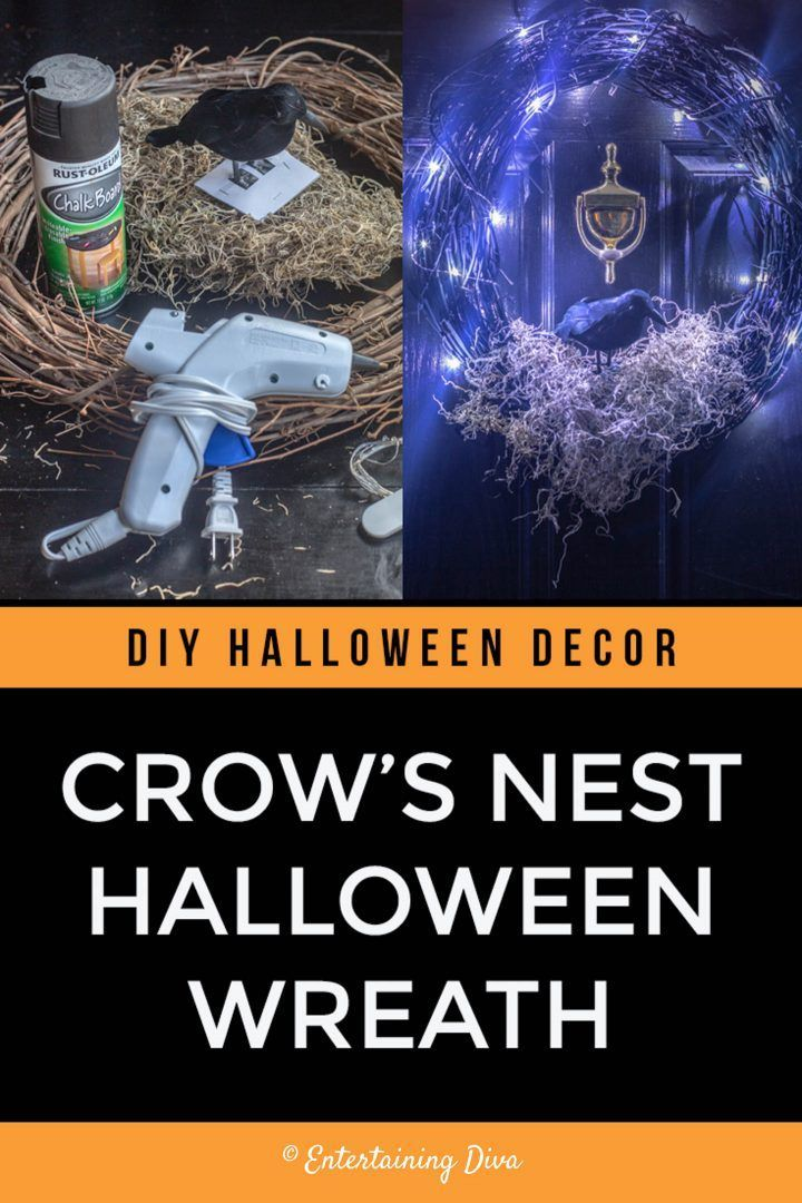 This spooky DIY Halloween wreath is perfect for your front door and it's really easy to make. I love the crow and the dried moss nest.   Halloween