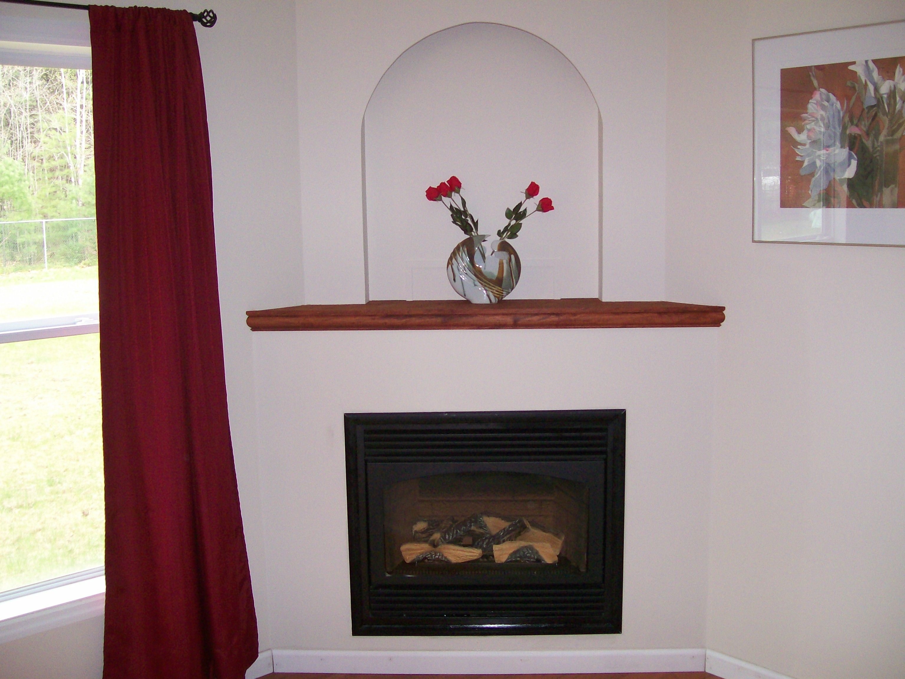 simple corner fireplace with shelf above it. | fireplace ...