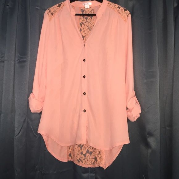 Peach Blouse This is a lightweight, airy peach colored blouse. There are three lace panels on the back of the blouse.  Brand is Xhilaration from Target. Size S. Slightly longer in the back. Xhilaration Tops Blouses