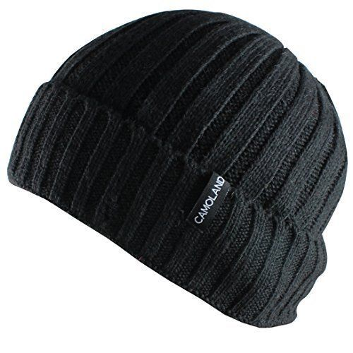 3444cb101ab CAMOLAND Men s Fleece Wool Cable Knit Winter Beanie Hat Hats Accessories  Shoes  CAMOLAND