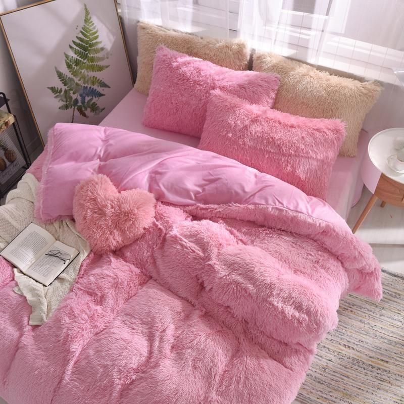 Colorful 4 Piece Faux Fur Bedding Set Lovelyhomestuff In 2020 Bedding Set Pink Bedrooms Girl Bedroom Decor