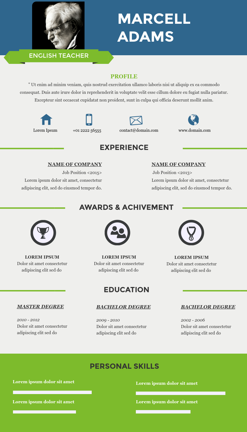 Infographic Resume Simple Infographic Resume Templates For Teachers Available In Visme