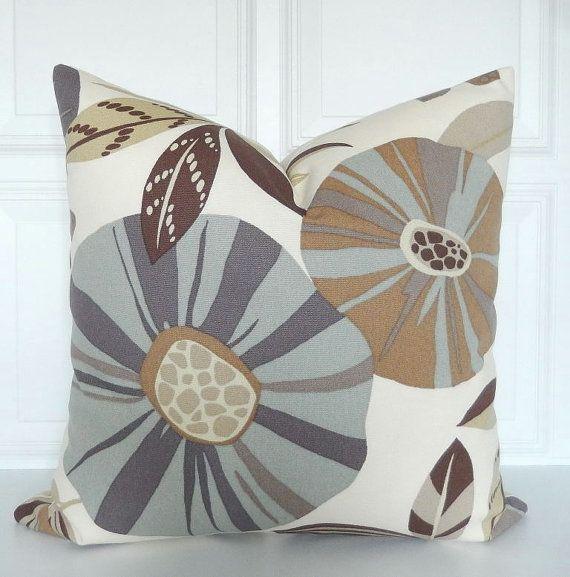 Brown Blue Pillow Cover Decorative Pillow Earth Tones 40x40 Awesome Earth Tone Decorative Pillows
