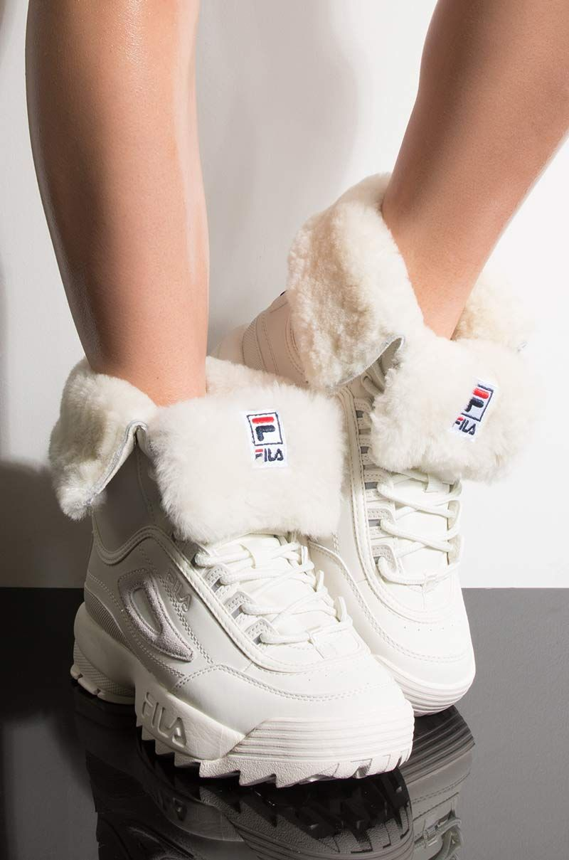 FILA Womens Disruptor Shearling Boot, In White Shearling  Shearling