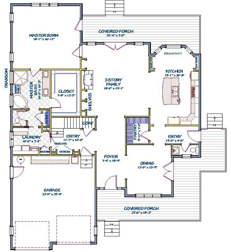 House Plan 6849 00008 Traditional Plan 2 720 Square Feet 3 Bedrooms 2 5 Bathrooms In 2020 House Plans Craftsman Style House Plans Floor Plans