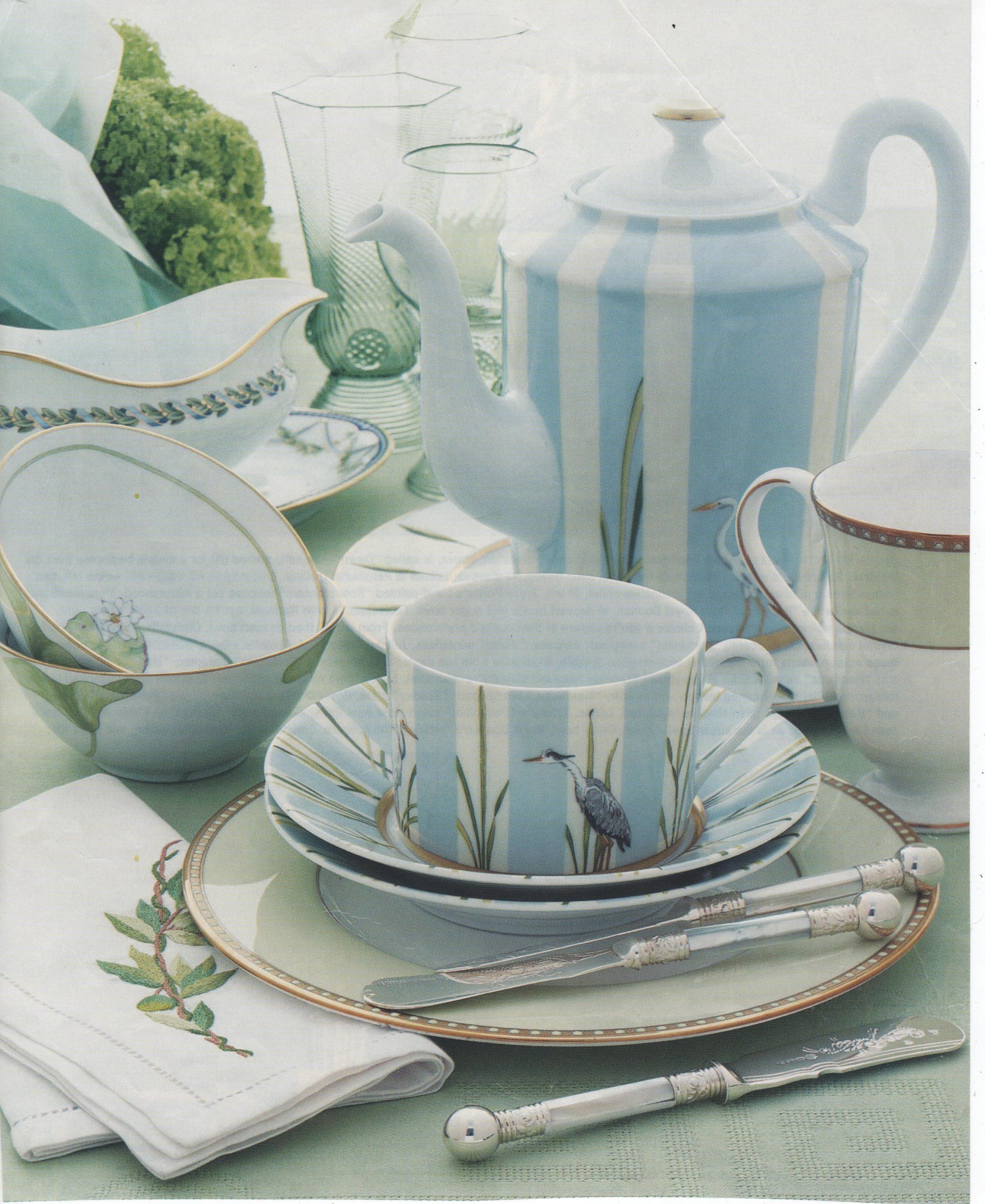 Glassware Juliska, Hermes heron china cups also Nil bowls.