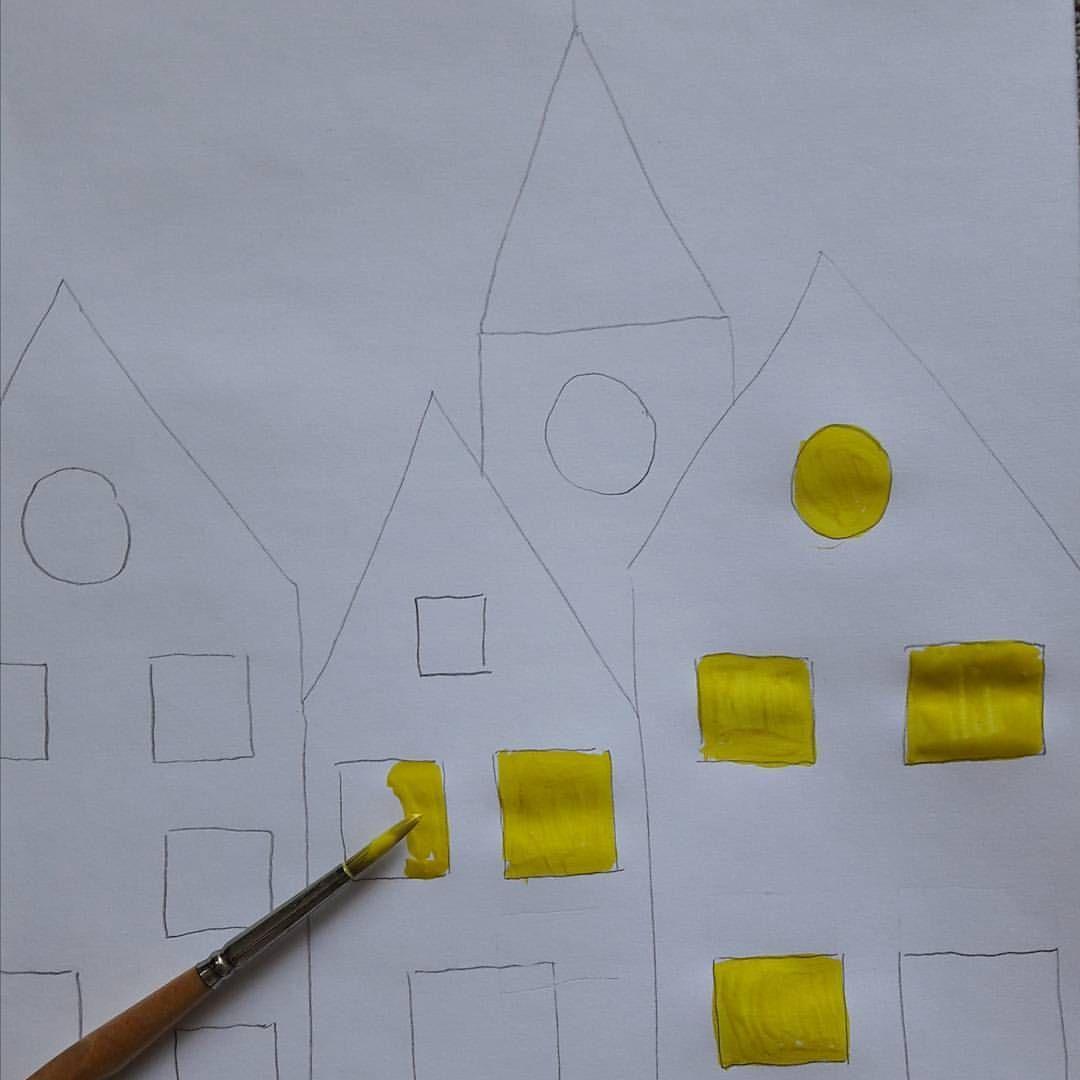"""""""SCHNEETREIBEN"""" Schritt 1: Häuser 🏠 mit Bleistift aufmalen ..."""