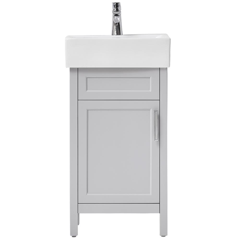 Home Decorators Collection Arvesen 18 In W X 12 In D Vanity In Dove Grey With Ceramic Vanity Top In White With White Sink Arvesen 18g The Home Depot White Sink