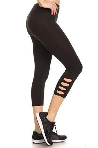 ddf13d18 Leggings Depot SHOSHO Women's Popular Active Yoga Sport Capri Leggings ( Black)