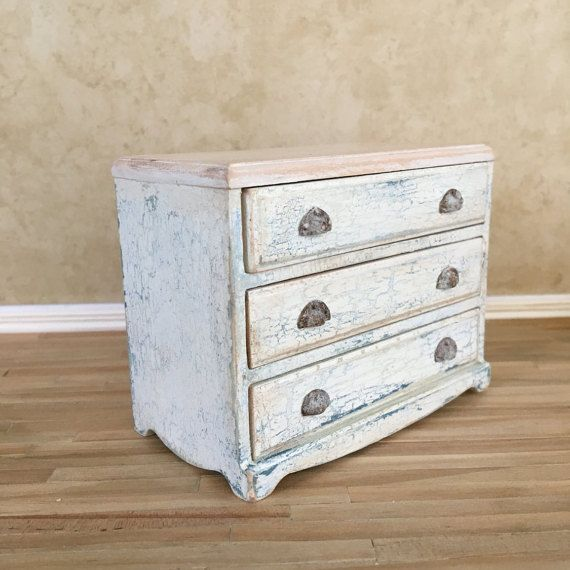 Dollhouse Miniature Three Drawer Chest Ooak By Doublenminis