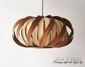 Plafoniere Moderne In Legno : Ceiling light modern natural wood veneer exclusive lamp pendent