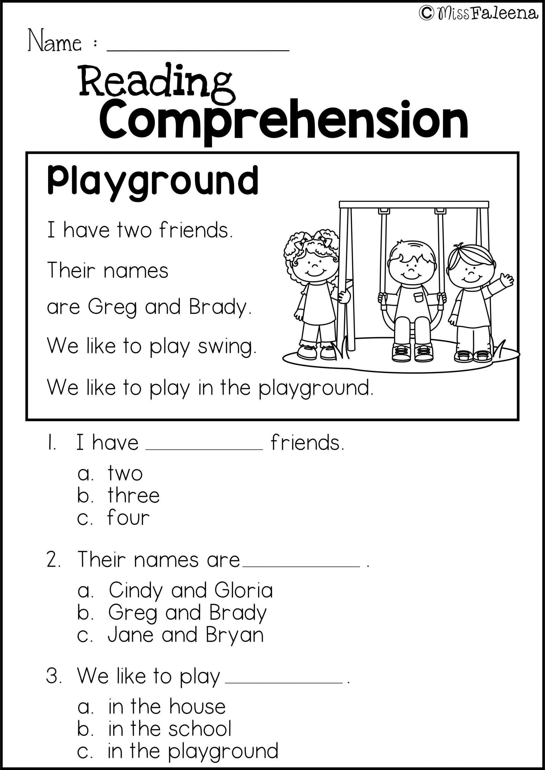 Reading Comprehension Kindergarten Worksheets Free Free