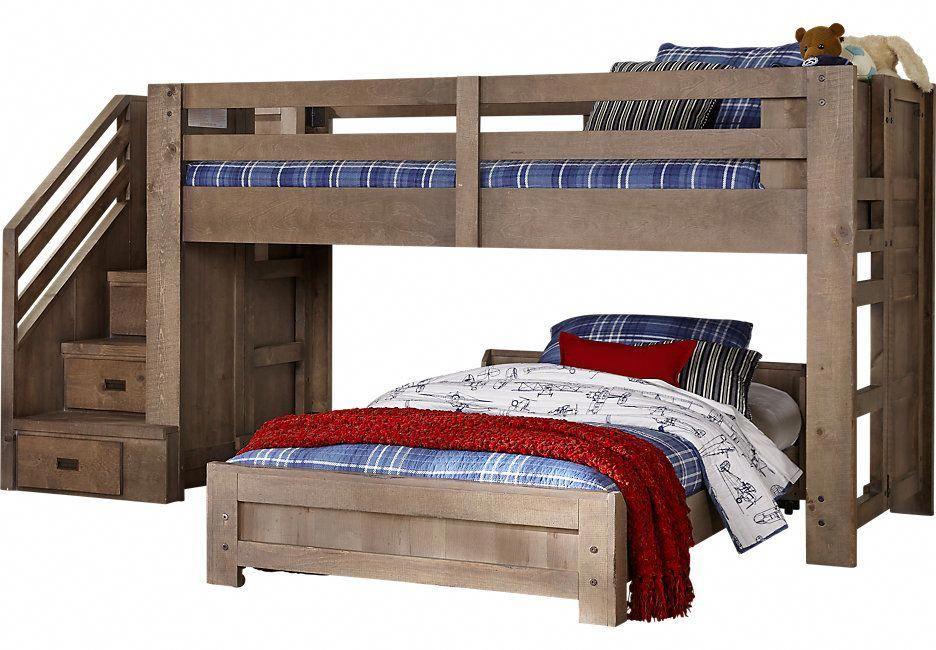 Montana Driftwood Twin Twin Step Jr Loft Bed Bunk Loft Beds