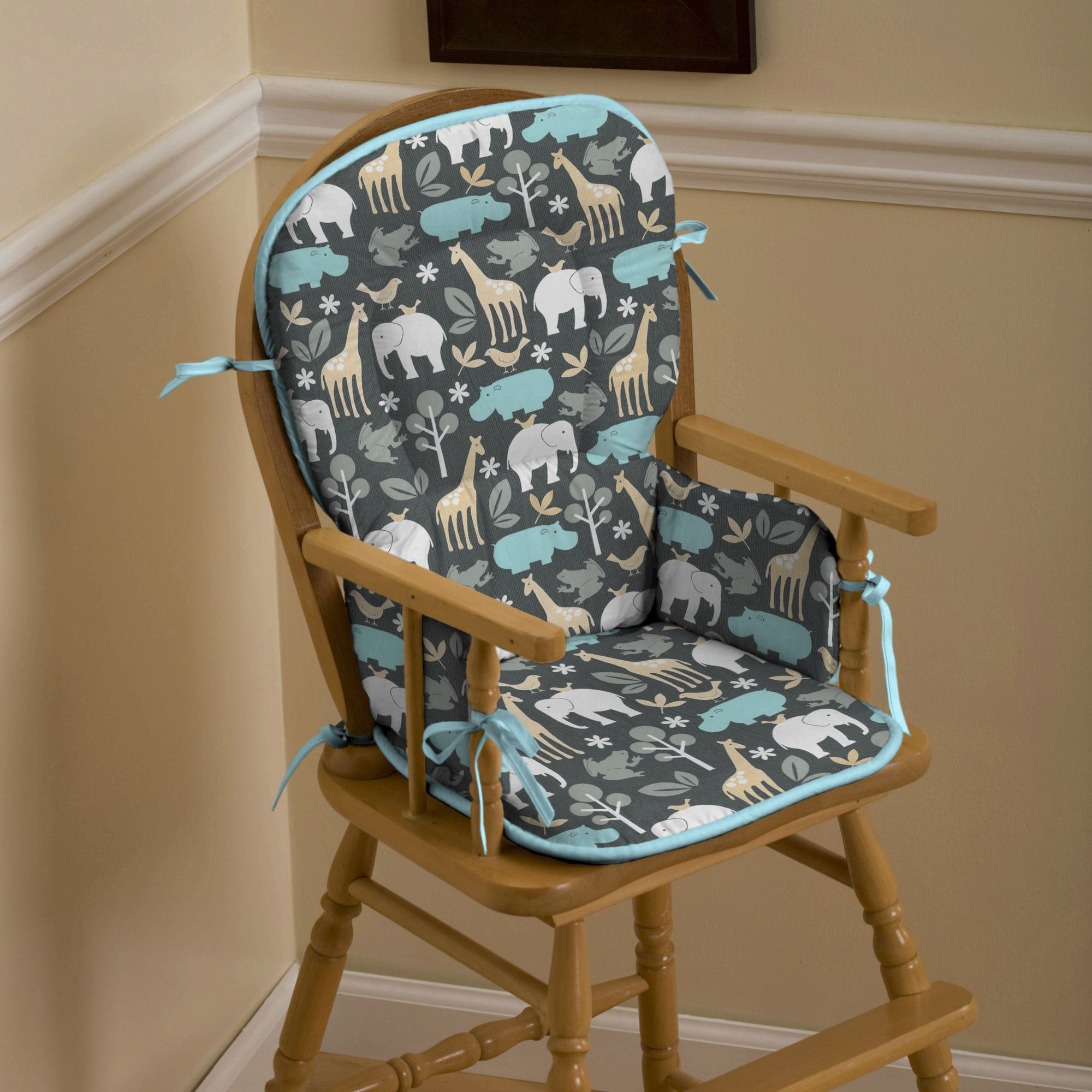 High Chair Pads Gray Zoology High Chair Pad Carousel Designs Crafts