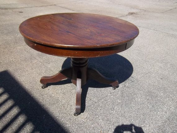 Antique Round Dark Wood Dining Table From Hc By