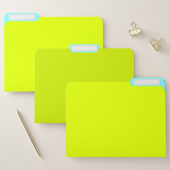 Chartreuse yellow electric blue solid color file folder custom office supplies business logo branding pinterest also rh cz