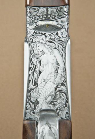 Perazzi SCO-Extra model 410ga over/under shotgun high art engraved, signed Galeazzi on triggerplat