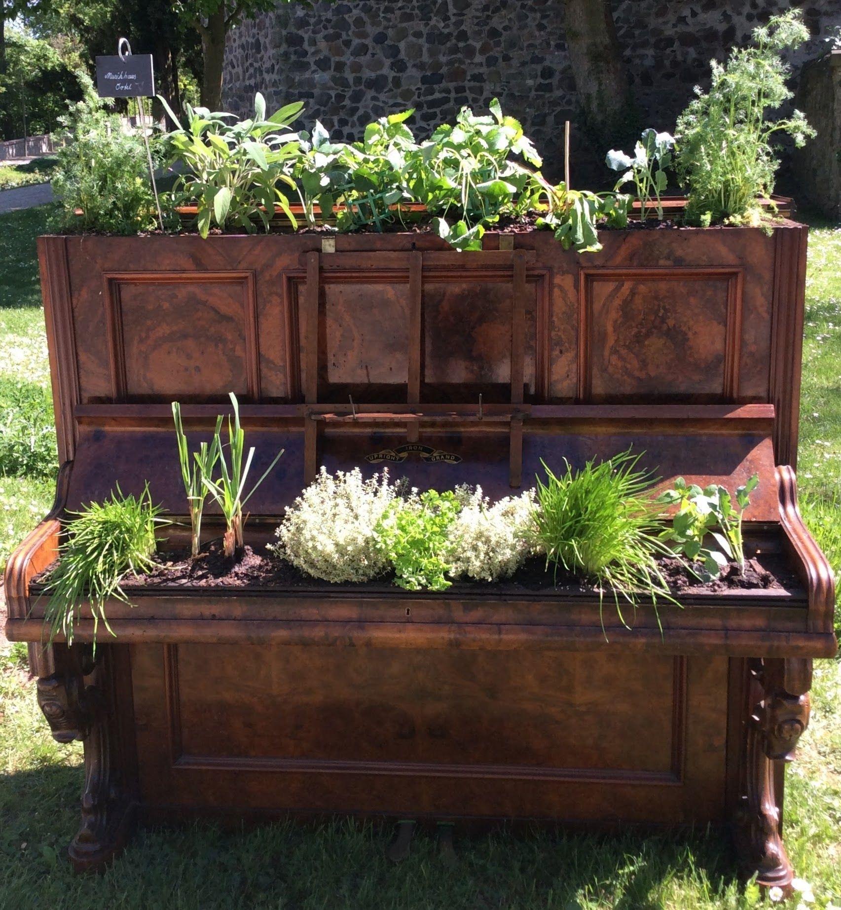 Das Musikhaus Ortel Hat Ein Ausrangiertes Klavier Zum Hochbeet Fur Kuchenkrauter Umgebaut Klavier Dekoration Gartencontainer Hochbeet
