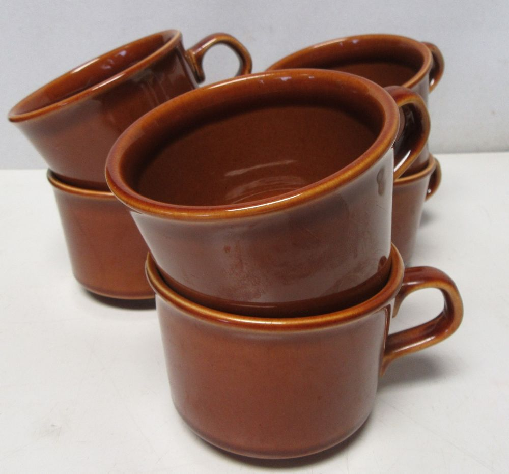Stoneware Pottery Coffee Mugs Marked USA Brown/Tan 6 Total