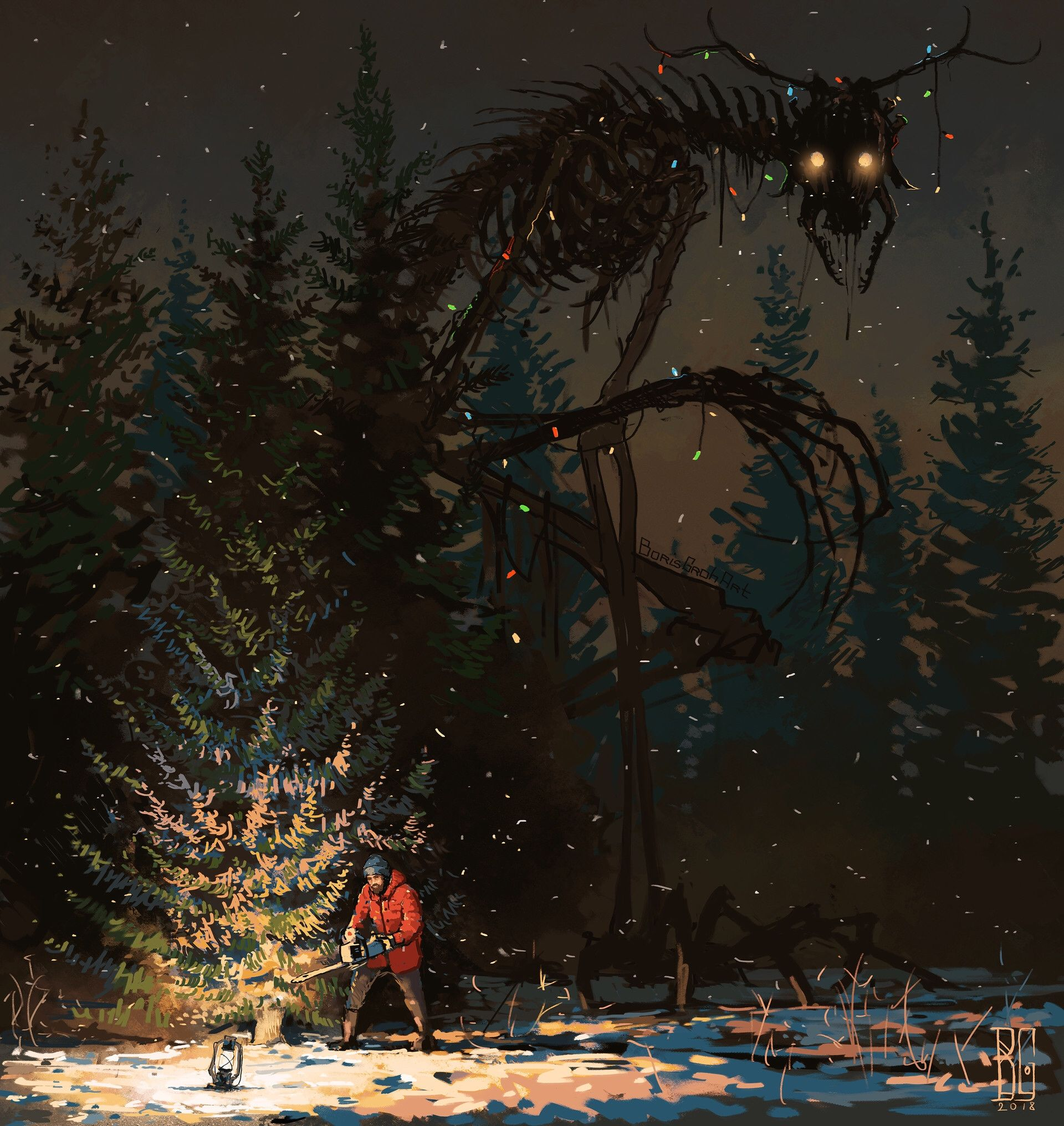 Image result for christmas tree dark painting