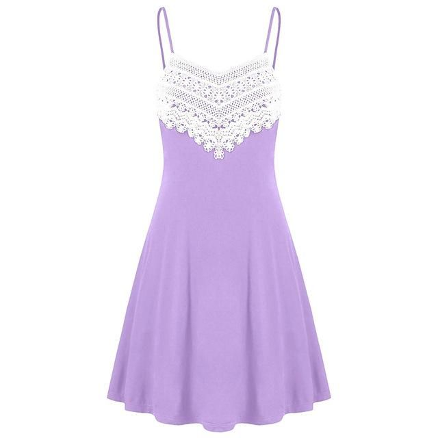 Lace Panel Mini Slip Dress 2018 Spaghetti Strap Sleeveless Dress Summer Women Dresses Casual Short Sundress Vestidos Purple L #shortsundress