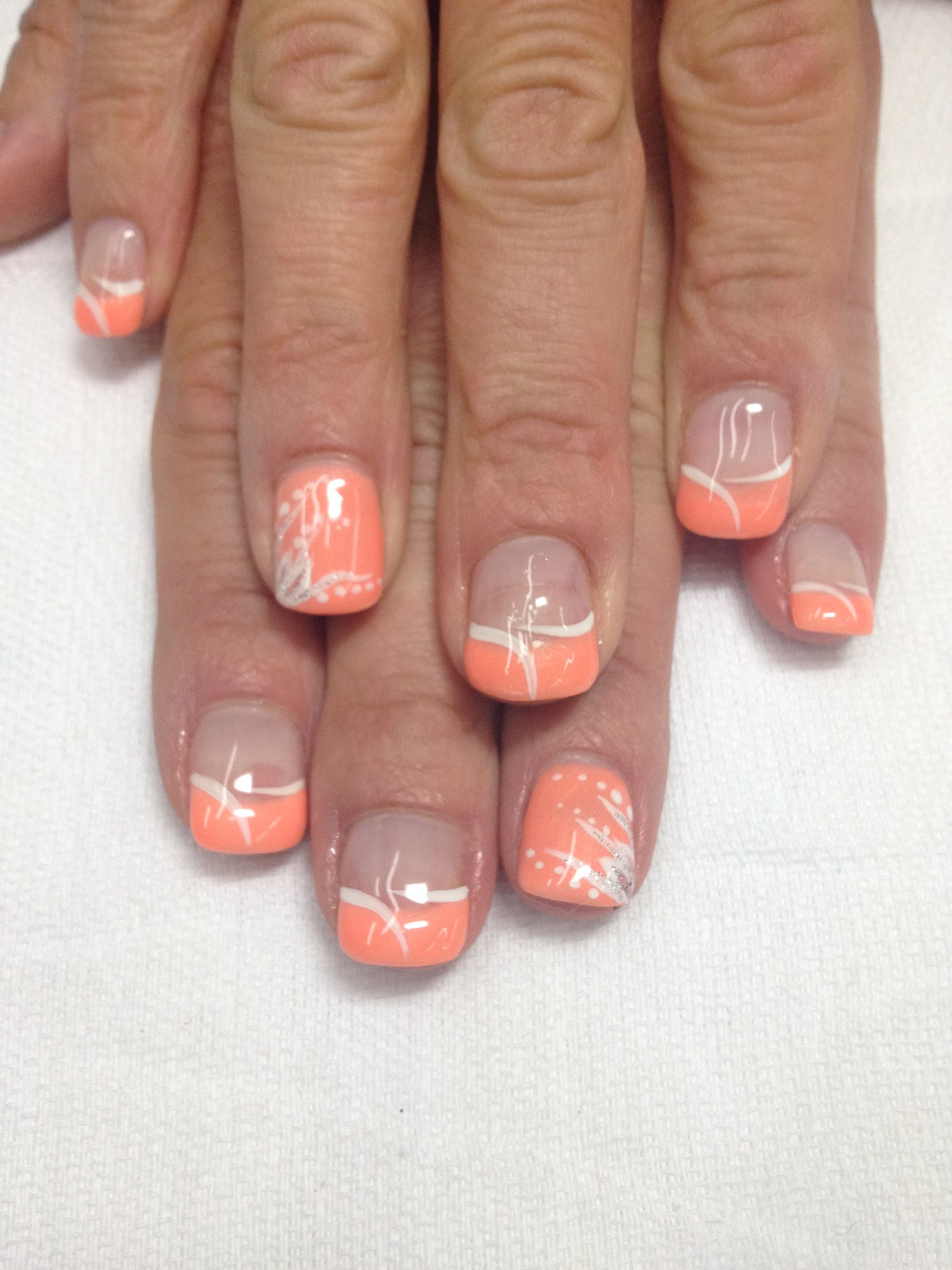 Summer Nails Creamy Orange French Gel Nails With Swish Accents