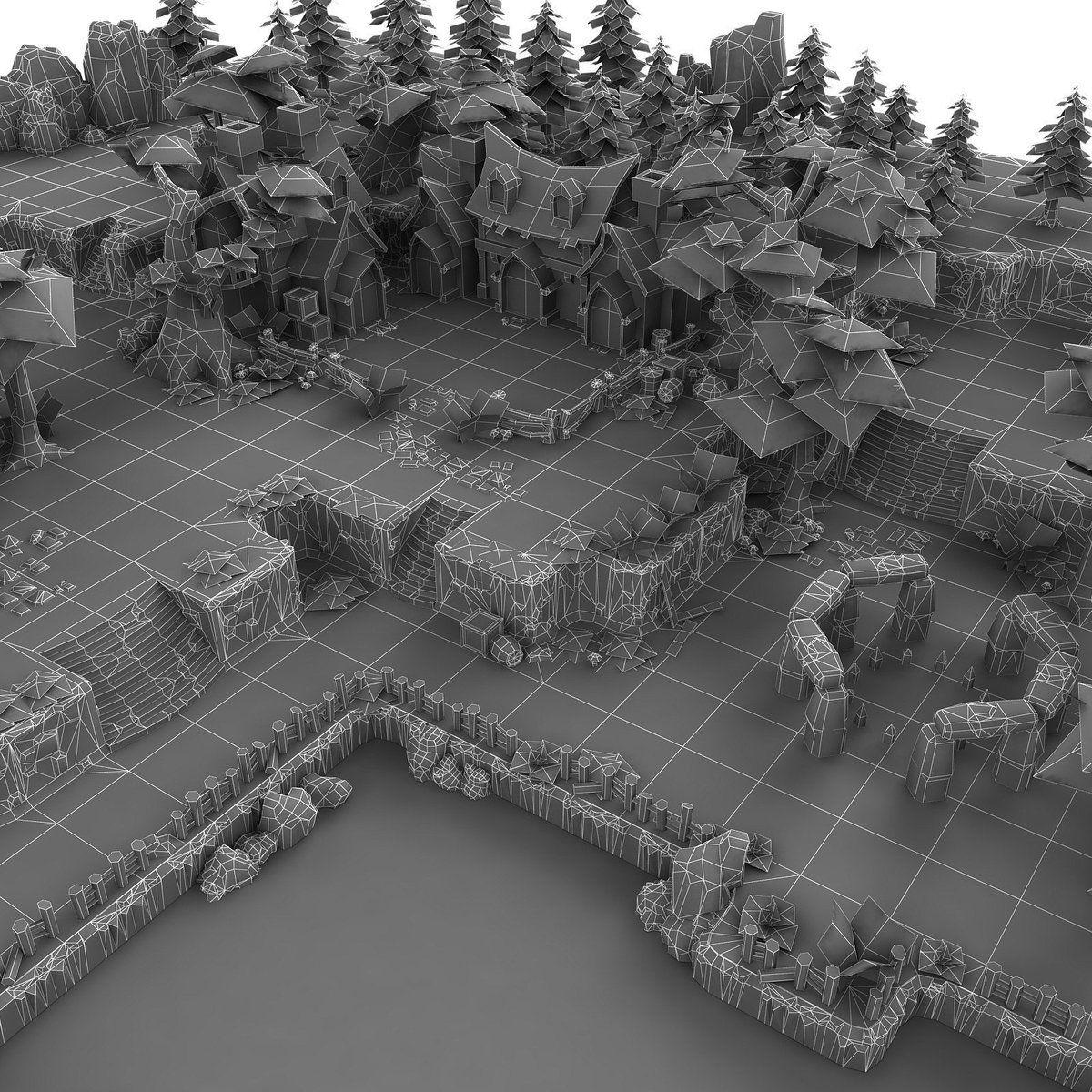 Fantasy Level Set Game level design, Low poly