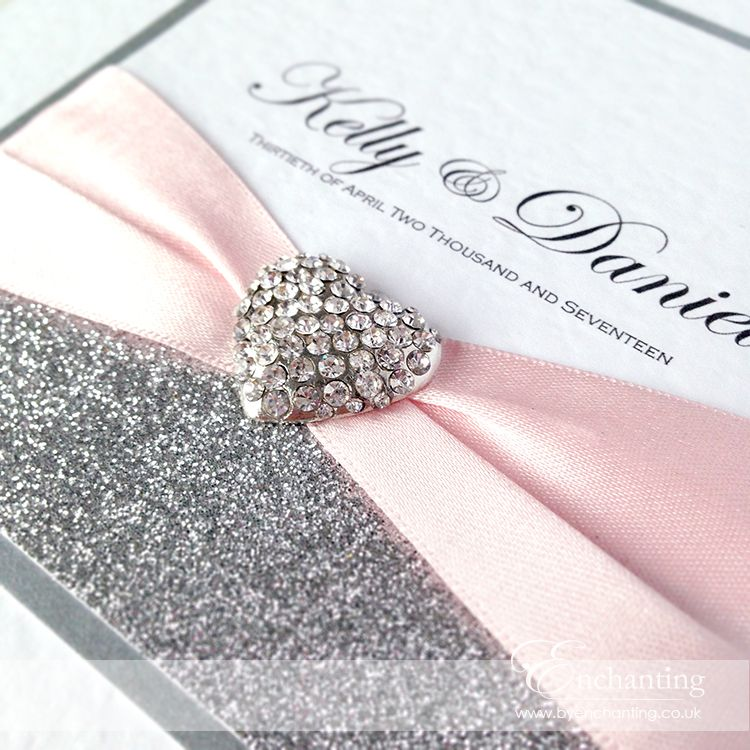 Kelly Daniel Opted For Some Pretty Pale Pink And Silver Wedding Invitations From The Cinderella