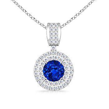 Angara Round Sapphire Diamond Pendant in Platinum NpVCIYs