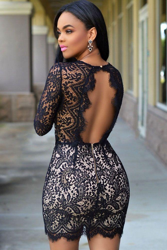 58f17ed5a5 Sukienka koronkowa czarna odkryte plecy